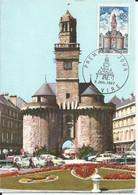 FRANCE N° 1500 Porte Horloge De Vire Sur Carte Maximum 1967 - 1960-69