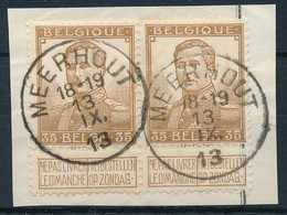 [D42] N°113 - 35c Bistre En Paire Sur Fragment - Oblitération Concours Meerhout - TB - 1912 Pellens