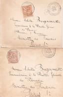 15c Mouchon Obl Chambley-Bussières Meurthe-et-Moselle 1902 Sur 2 Env Corresp Du Bureau Des Douanes Des Baraques OL - 1877-1920: Semi Modern Period