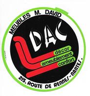AUTOCOLLANT STICKER ADHÉSIF - MEUBLES M. DAVID - 215 ROUTE DE RENNES NANTES - DAC DÉCOR AMEUBLEMENT CONFORT - Stickers