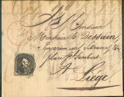 N°6 - Médaillon 10 Centimes Brun Obl. P.8 Sur Lettre D'AUBEL Le 7 Mars 1852 Vers Liège. Belles Frappes De Ce Bureau Rar - 1851-1857 Medaillen (6/8)