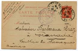 RC 19731 FRANCE 1920 ENTIER 10c SEMEUSE POUR LE NICARAGUA - BONNE DESTINATION TB - 1877-1920: Semi-moderne Periode