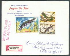 N°1345/6-1348 (Série Reptiles III - Zoo D'ANVERS) Obl. Sc BRUXELLES 1sur Lettre Recommandée Du 29-11-1965 Vers La Ville - Brieven En Documenten