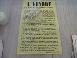 Affiche Vente Aux Enchères Lavernède Albeau Malbosc Métairies Mines Houille Salles De Gagnières Et De Cessous...1846 - Historical Documents