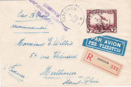5F Avion Survolant Bruxelles Seul Sur LR Par Avion Cureghem 3 V 1932 Pr Mulhouse Exempt Douane à L'arrivée - Airmail