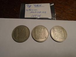 LOT 8    + 3 Pieces 10 FRANCS Type TURIN  Années 1947/48/49 - K. 10 Francs