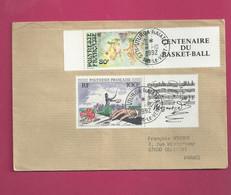 Lettre De 1992 Pour La France - YT N° 382 Avec Vignette Et 389 Avec Vignette - Basket Ball - Mozart - Storia Postale