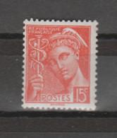 FRANCE / 1938 / Y&T N° 408 ** : Mercure 15c Vermillon X 1 - Nuevos