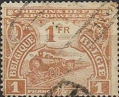 BELGIUM 1920 Railway Stamp - Steam Train - 1f - Brown FU - 1915-1921