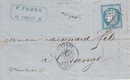 MARQUE POSTALE   LAC  CREST POUR ORANGE  GC 1222 FEVR 1873 - 1849-1876: Periodo Classico