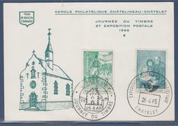 Cercle Philatélique Châtelineau-Châtelet Journée Du Timbre Et Exposition Postale 2 Timbres 2 Cachets 25.4 Et 16.4.65 - Lettres & Documents