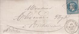 MARQUE POSTALE    LAC LA COUCOURDE  POUR ROCHEMAURE   19 AVRIL 1869   GC 1155 S/N° 29 - 1849-1876: Periodo Classico