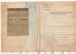VP17.949 - REIMS X PONTFAVERGER - Documents Relatif Au Commandant P.DUPONT Du 158è Rgt D'Inf Mort Pour La France En 1915 - Documentos