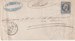 "FRANCE : PC 1237 . "" LE FAOU "" . (28) . N° 28 . T 14 . . B . 1854 . B . ( LST ) . - 1849-1876: Periodo Classico"