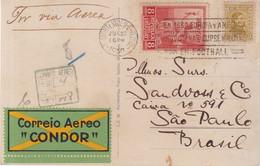 URUGUAY : CP . LZ 127 . AVEC SURTAXE AERIENNE . VIGNETTE CONDOR . POUR LE BRESIL . OBL MECANIQUE . 1930 . - Uruguay