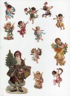 CHROMO 19ème Découpis Gaufrée Père Noël Sapin Jouets Anges Angelots Chérubins Fleurs (12 Chromos) - Fleurs