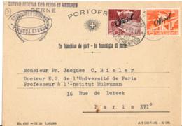 SUISSE SERVICE YT  N°265 ET 268 OBLITERES SUR IMPRIME POUR LE FRANCE - Covers & Documents