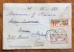 PARIS 106 A  10/2/1916 RACCOMANDATA CON 50 C.(Merson) Per STOICESCO ROMA RITORNATA AL MITTENTE HOTEL MEURICE PARIS - Lettres & Documents