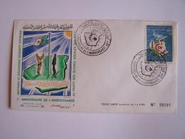 ALGERIE 1963 Timbre Sur Enveloppe Premier Jour Numérotée     1er ANNIVERSAIRE DE L'INDEPENDANCE - Algérie (1962-...)