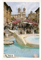 Italie Italia Lazio Rome Roma Plazza Di Spagna La Place Fontaine Escalier Batiment Edifice Patrimoine Histoire - Places & Squares