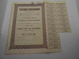 """Action Aktie Von 500 Franken  """"Elektrische Isolierrohrwerke """" Hergenrath  Electricité 1936  Belgique.N°000510 - Elektrizität & Gas"""