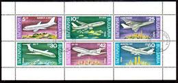 BULGARIA 1990  Passenger Aircraft Sheetlet Used.  Michel 3858-63 Kb - Gebraucht