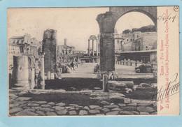 ROMA  - FORO  ROMANO   - LA  BASILICA  GIULIA  ED  I  TEMPII DI  ANTONIO E FAUSTINA  . CASTORE E POLLUCE  -  1904  - - Non Classés