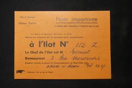 GUERRE 1939/45 -  Ville De Bourges - Défense Passive - Note à Afficher Dans L 'immeuble à L'ilot N°152 - L 85084 - Documentos