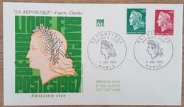 FDC 1969 - YT N°1536A, 1536B - MARIANNE DE CHEFFER / REPUBLIQUE - PARIS - 1960-1969