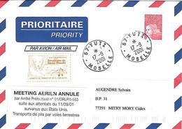 Enveloppe Cad YUTZ 17 09 2001 - Vignette Transport Avion - étiquette Meeting Aérien Annulé - Aérodrome Basse Moselle - - Non Classés