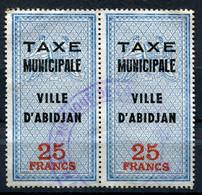 """COTE D'IVOIRE TIMBRE FISCAL EN PAIRE  """" TAXE MUNICIPALE VILLE D'ABIDJAN 25 FRANCS """" OBLITERE - Ivory Coast (1960-...)"""