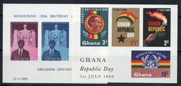 Ghana 1959-1960 Mi. Bl. 1-2 Bloc Feuillet 100% Neuf ** Abraham Lincoln, République - Ghana (1957-...)