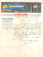 HOTEL MIRABEAU - NICE - LA COTE D'AZUR -LE SALON DE LA NATURE  1933   COURRIER - 1900 – 1949