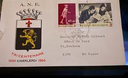 Enveloppe 300 Jaar Charleroi Uit 1966 Met Rode Hruiszegels - Lettres & Documents