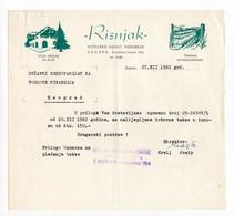 1962 YUGOSLAVIA,CROATIA,ZAGREB,VILA REBAR,RISNJAK HOSPITALITY CO.,LETTERHEAD - Covers & Documents