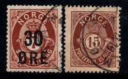 Norvège 1906-08 Mi. 65, 71 Oblitéré 100% 15 O, 30 O - Usados