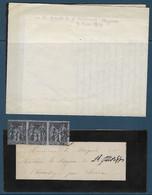 France - Faire Part De Décés De Marie Amédée, Vicomte De Ginestous 25 Février 1878 - Affran Type Sage N° 83 3 Exempla - 1849-1876: Periodo Classico