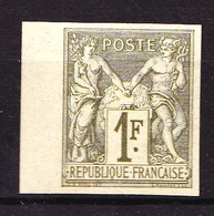 72a - 1F Sage Type I (N/B) - Non Dentelé - BDF - Neuf N* - Très Beau - Sgné Brun. - 1876-1878 Sage (Tipo I)