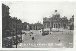 Roma Piazza S. Pietro Tram Rome Roma Tramway Strassenbahn Trolley Basilica Vaticano Vatican 30s - Transport