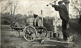 RPPC SOCIAL HISTORY  HOLYWELL WATERWORKS  FLINTSHIRE  CART ANE DONKEY EZEL ESEL MULES Donkeycollection - Flintshire