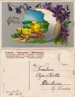 Ansichtskarte   Küken, Riesen-Osterei, Goldrelief 1914 Prägekarte - Easter