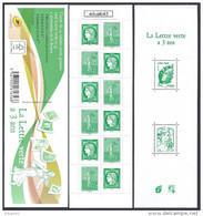 2014 Carnet Adhésif - BC 1521 La LETTRE VERTE A 3 Ans - NEUF - LUXE ** NON Plié - Gelegenheidsboekjes