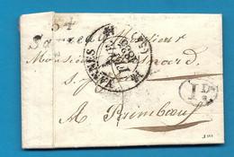 Morbihan - Sarzeau Pour Paimboeuf. Cursive 54/Sarzeau + CàD Type 12 De VANNES. 1835 - 1801-1848: Precursors XIX