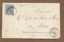 GUEUGNON : 1877 : Cachet à Date  Type 16  Sur Sage 25c :  ( Saône Et Loire ) : - 1877-1920: Periodo Semi Moderno