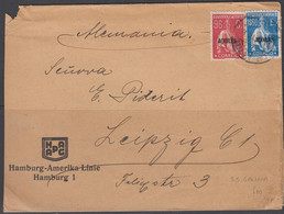 AZORES - EARLY COVER FRANKED 96C AND 1S60 TO LEIPZIG VIA SS GLALICIA HAMBURG LINE - Azores