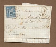 """IGUERANDE  : 1878 :  Cachet à Date Type 17 Sur Sage 25c  + Boite Rurale  """"B"""" Fleury La Montagne  ( Saône Et Loire ) : - 1877-1920: Periodo Semi Moderno"""