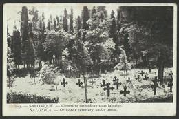 SALONIQUE - Cimetière Orthodoxe Sous La Neige Old Postcard (see Sales Conditions) 03464 - Griekenland