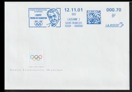 Switzerland Cover W/Meter Lausanne 2 2001 Comite International Olympique L'Espirit Pierre De Coubertin (G120-75) - Cartas