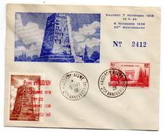 1938--Souvenir 20° Anniversaire HAUDROY-AISNE....cachets...type Arc De Triomphe N°403  Seul Sur Lettre Numérotée 2412 - 1921-1960: Periodo Moderno