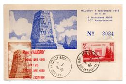 1938--Souvenir 20° Anniversaire HAUDROY-AISNE....cachets...type Arc De Triomphe N°403  Seul Sur Document  Numéroté  2034 - 1921-1960: Periodo Moderno